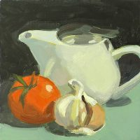 Teapot, Garlic, and Tomato