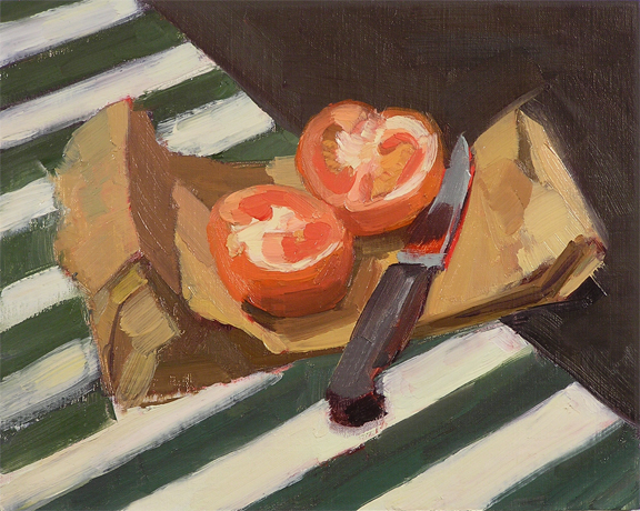 tomato, knife and paper bag; oil painting