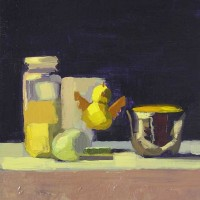 chicken and cup, oil painting