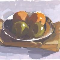 Pears, 01.31.10 — gouache, 7 x 9.5 in (18 x 24 cm), 2010