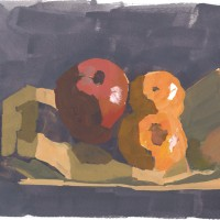 Apple & Clementines, 02.03.10 — gouache, 7 x 9.5 in (18 x 24 cm), 2010