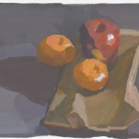 Apple & clementines, 02.07.10 — gouache, 7 x 9.5 in (18 x 24 cm), 2010