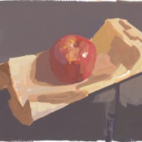 Apple and paper bag, 02.17.10 — 7 x 9.5 in (18 x 24 cm), gouache, 2010