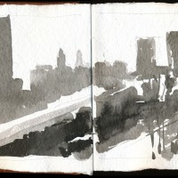 Boston, 03.07.13 — 8 x 16 in, sumi ink, 2013