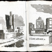 Boston, 03.14.13 — 8 x 16 in, sumi ink, 2013