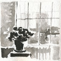 Windows, left, 03.19.13 — 8 x 8 in, sumi ink, 2013