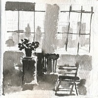 Windows, right, 03.19.13 — 8 x 8 in, sumi ink, 2013