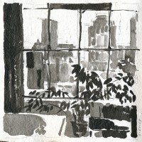 Windows, left, 03.21.13 — 8 x 8 in, sumi ink, 2013
