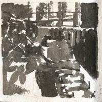 Studio, 04.04.13 — 8 x 8 in, sumi ink, 2013