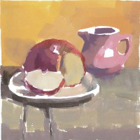 Apple & pink pitcher, 11.30.2010 — 6 × 6 in (15×15 cm), gouache, 2010