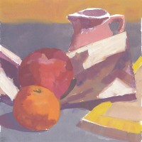 Apple & Pink Pitcher, 12.02.10 — 6 × 6 in (15×15 cm), gouache, 2010