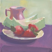 Strawberries & Melon, 12.5.10 — 6×6 in (15×15 cm), gouache, 2010