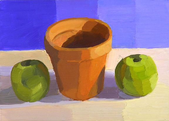 061208 Clay Pot Green Apples
