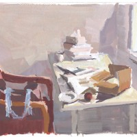Table & chair, 03.23.10 — 7 x 9.5 in (18 x 24 cm), gouache, 2010