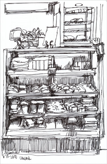 anderson's market, ink drawing