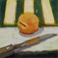 apricot and knife, oil painting