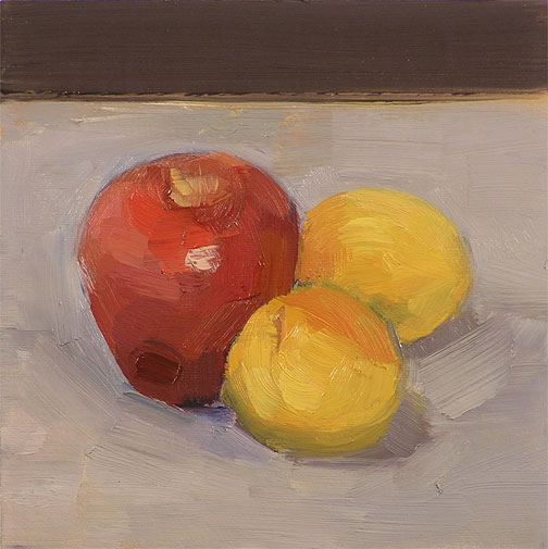 apple and apricots, oil painting