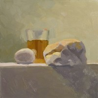bagel, egg and tea - no. 2; oil on panel