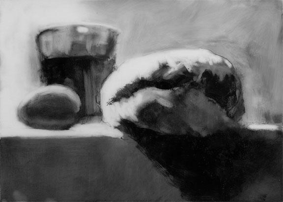 bagel, egg and tea; graphite on mylar