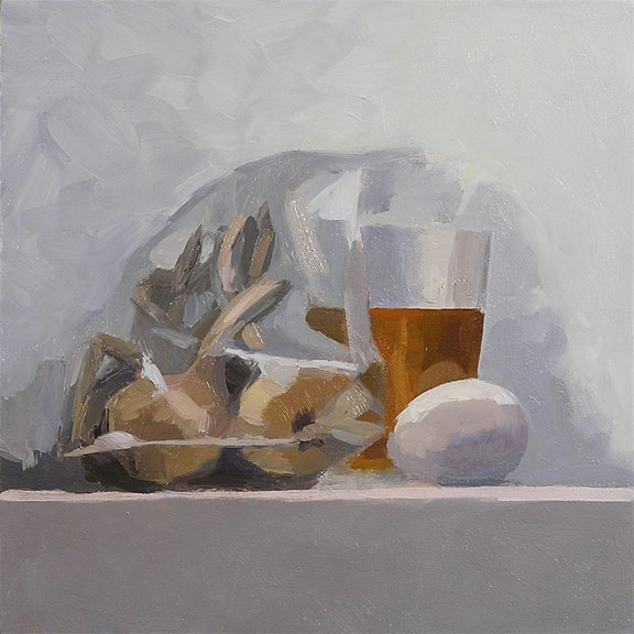 jer and becca's garlic; oil on panel