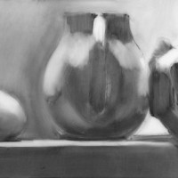 egg, pitcher, wrapped cup; graphite on mylar