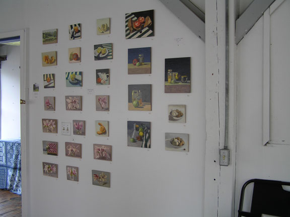 display wall, Holliston Open Studios; photo