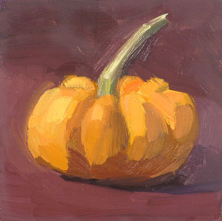 pumpkin; oil on linen mounted panel