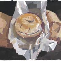 Bagel, 03.23.10 — 7 x 9.5 in (18 x 24 cm), gouache, 03.23.10