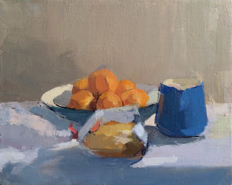 Bread & Clementines<br /> oil on linen, 8x10 in, 2014<br />SOLD