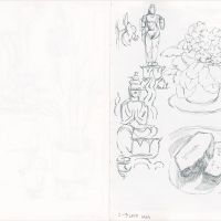 One-page sketchbook pencil drawing in black and white
