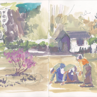 Two-page sketchbook goauche and pencil drawing in color