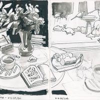 Two-page sketchbook ink and pencil drawing in black and white