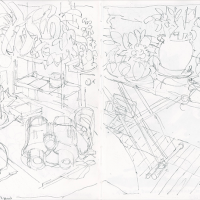 Two-page sketchbook pencil drawing in black and white
