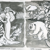 Two-page sketchbook ink drawing in black and white