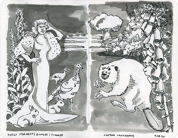 Black and white ink drawing in two-page sketchbook spread