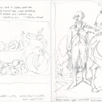 Two-page sketchbook pencil drawings in black and white