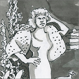 Mae, b&w ink drawing, detail